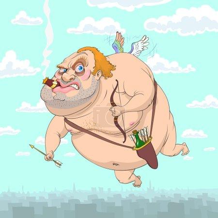 Illustration pour Adulte Cupidon vole au-dessus de la ville avec l'arc à la main, flèches et bouteille dans le carquois, fumer cigare dans les lèvres - image libre de droit