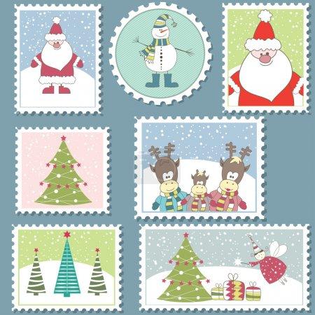 Illustration pour Grand ensemble d'illustration de stamps.vector coloré Noël affranchissement - image libre de droit