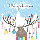 Christmas reindeer with gifts Vector illustration
