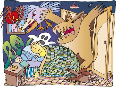 Illustration for Boy that are dreaming scary monsters around his bed - Royalty Free Image