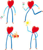 Four heart characters