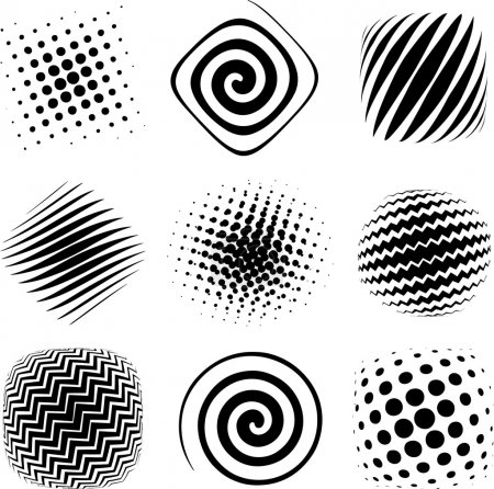 Illustration for Nine graphic halftone elements ready for design study. - Royalty Free Image