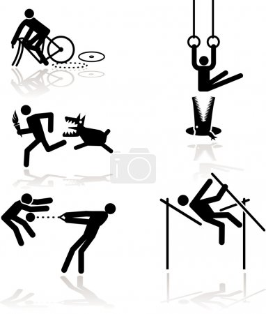 Illustration pour Jeux olympiques voir à travers un point de vue humour. Set 1 en détail : Cyclisme, Anneaux (gymnastique), Course à pied (porteur de flambeau), Voûte polaire, lancer de marteau - image libre de droit