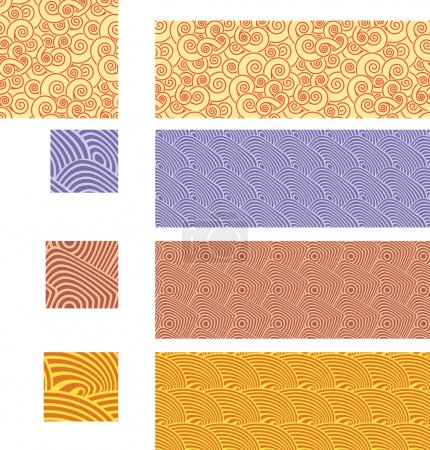 Illustration for Collection of asian pattern. Select all the art in each layer and drop it into your swatches palette to create the Illustrator pattern. - Royalty Free Image