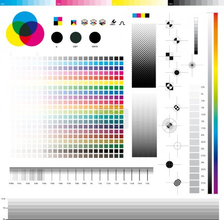 Illustration for Complete set of cmyk graphic symbol utilities; good for printing tests. In detail: Registration marks, four process ramps and thickness ramps. - Royalty Free Image
