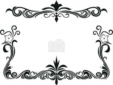 Illustration for Black and white decorative frame with floral elements - Royalty Free Image