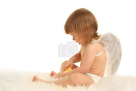 Photo for Cute little angel on white - Royalty Free Image