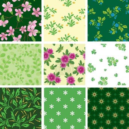 Illustration pour Ensemble de divers motifs floraux vectoriels sans couture - image libre de droit