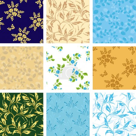 Illustration pour Ensemble de divers motifs sans couture vectoriels avec flore - image libre de droit