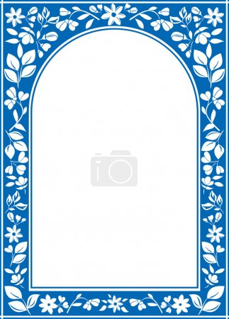 Vector blue floral arch frame with white center