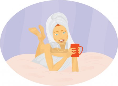 Illustration for Girl drinking coffee in bed - Royalty Free Image