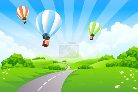 Illustration for Green Landscape with Balloons clouds and mountains - Royalty Free Image