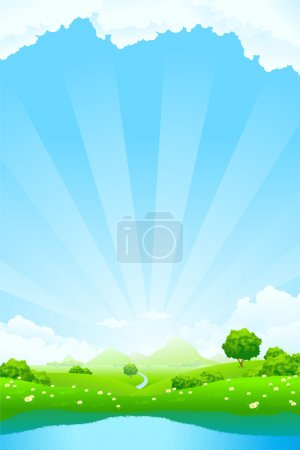 Illustration for Green Landscape with clouds trees and lake - Royalty Free Image
