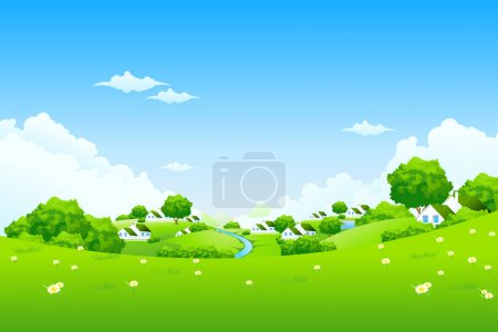 Illustration for Green Landscape with houses clouds flowers and trees - Royalty Free Image