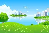 """Постер, картина, фотообои """"зеленый городской пейзаж"""""""