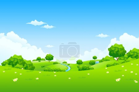 Illustration for Green Landscape with trees clouds flowers and mountains - Royalty Free Image