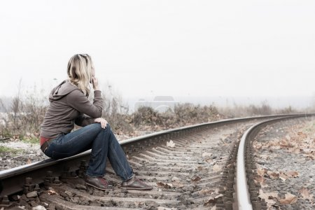 Photo for Depressed woman. - Royalty Free Image