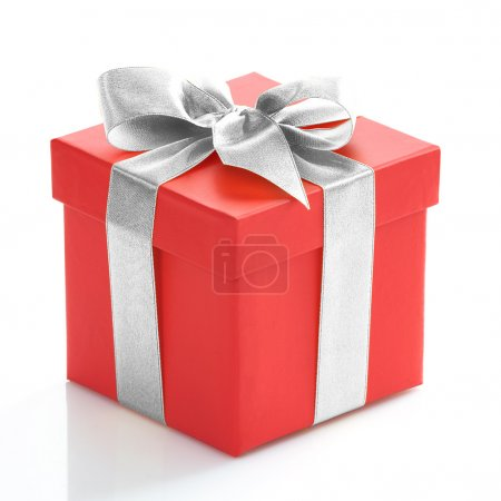 Photo for Single red gift box with gold ribbon on white background. - Royalty Free Image
