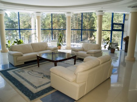 Photo for Modern living room with large windows - Royalty Free Image