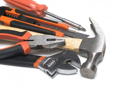 Photo for Set of handtools: hammer, cutter, spanner, screwdriver, wrench - Royalty Free Image