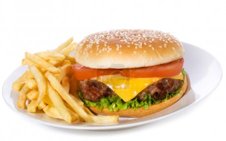 Photo for Hamburger with vegetables and fries on white background - Royalty Free Image