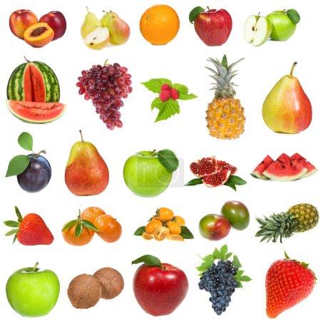 Photo pour Set avec des fruits et des baies sur fond blanc - image libre de droit