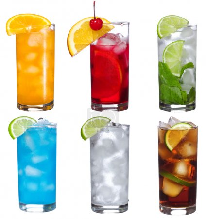 Photo for Set with different cocktails on white background - Royalty Free Image