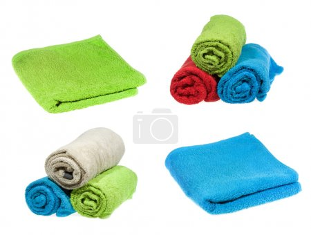 Photo pour Set avec serviettes om fond blanc - image libre de droit