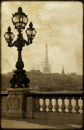 Lamppost on the bridge of Alexandre III in Paris, France