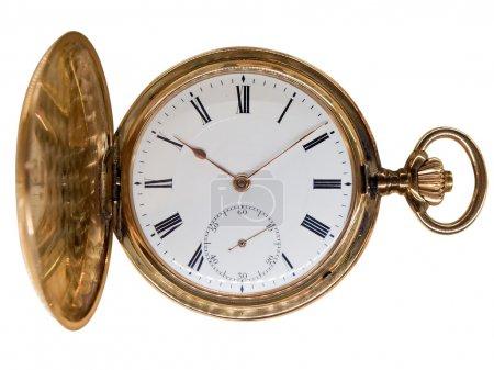 Vintage golden pocket watch, aged 1912, from Switzerland, isolat