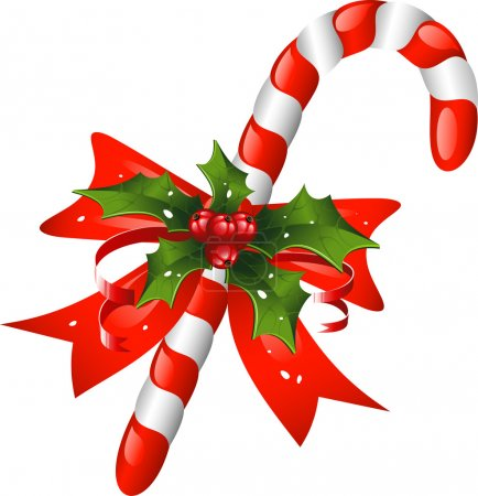 Christmas candy cane decorated with a bow and holly