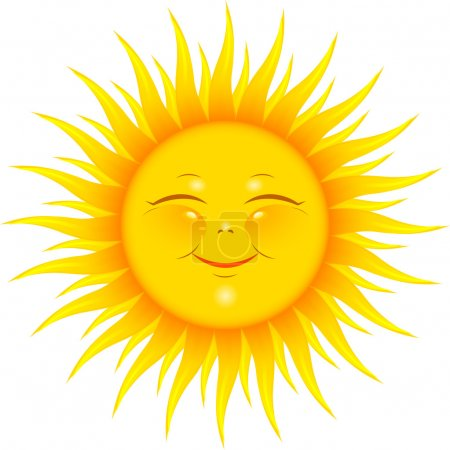 Illustration for Vector Smiling Sun over white. EPS 8, AI, JPEG - Royalty Free Image