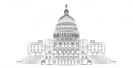 Capitol hill outline vector illustration...