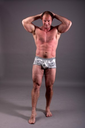 Mature bodybuilder posing