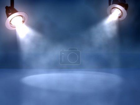 Photo pour Deux projecteurs de travail sur une scène de club dans des caillots de fumée - image libre de droit