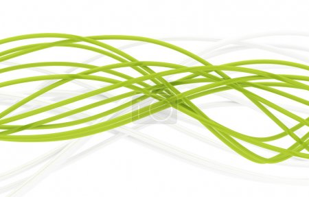 Photo for Fibre-optical green and metal silvered cables on a white background - Royalty Free Image