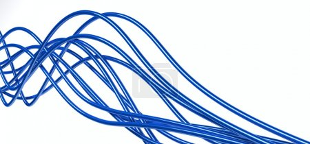 Bright metallic fibre-optical blue cables on a whi...