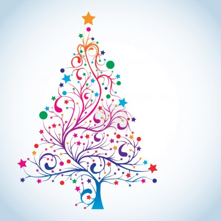 Illustration for Christmas tree in rainbow colors, vector illustration - Royalty Free Image