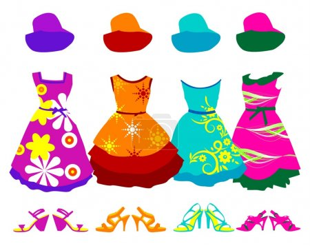 Silhouettes color dress collection