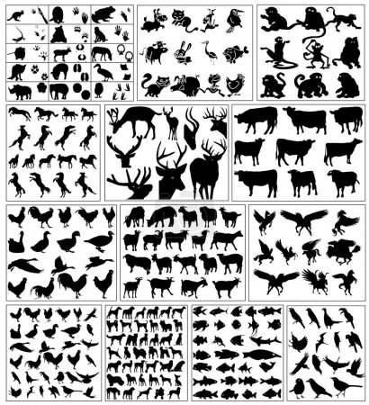 Illustration pour Silhouettes d'animaux sauvages et animaux de compagnie - image libre de droit