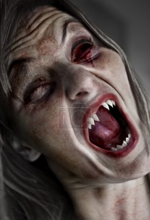 Photo for Portrait of a scary female ghoul or zombie - Royalty Free Image