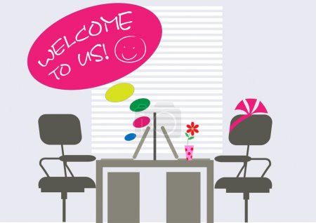 Illustration for Decorated workplace for new colleague - Royalty Free Image