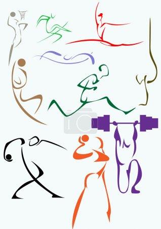 Illustration pour Un ensemble d'images symboliques du sport - image libre de droit