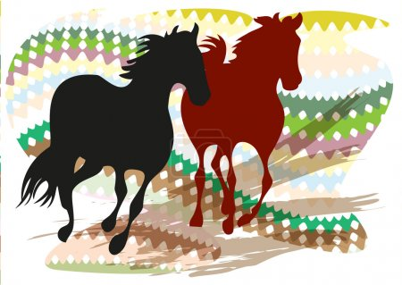 Illustration for Silhouettes of two galloping mustangs on the background of a stylized Indian ornament - Royalty Free Image