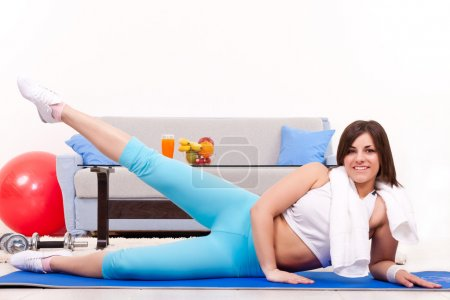Pushing legs up, fitness at home