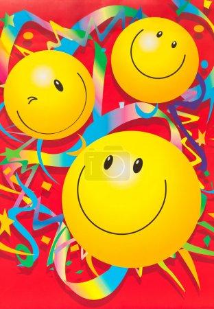 Photo pour Décoration papier peint avec visage souriant - image libre de droit