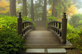 Wooden Bridge at Japanese Garden in Fall