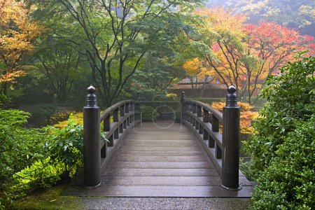 Photo for Wooden Bridge at Portland Japanese Garden Oregon in Autumn - Royalty Free Image
