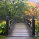 Wooden Bridge at Portland Japanese Garden Oregon i...