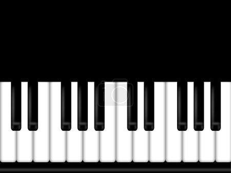 Photo pour Illustration de fond de clavier de piano noir et blanc - image libre de droit